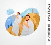 hajj pilgrims pray at mount... | Shutterstock .eps vector #1448551421