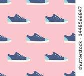 blue sneakers seamless pattern... | Shutterstock .eps vector #1448566847