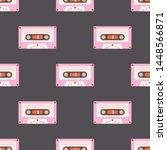 cassette tape seamless pattern... | Shutterstock .eps vector #1448566871