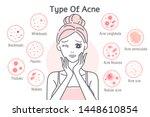 upset cartoon woman touch her... | Shutterstock .eps vector #1448610854