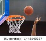 Orange Basketball Ball Flying...