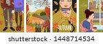 cozy autumn. set of cute flat...   Shutterstock .eps vector #1448714534