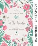 little little garden. floral... | Shutterstock .eps vector #1448724704