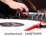 dj mixing music at house party... | Shutterstock . vector #144874399