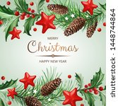 frame with text and christmas... | Shutterstock .eps vector #1448744864