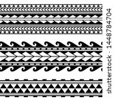 maori polynesian tattoo border. ... | Shutterstock .eps vector #1448784704