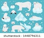 polar bears set  teddy bear in... | Shutterstock .eps vector #1448796311