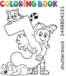 coloring book girl and pets by...   Shutterstock .eps vector #1448804231