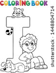 coloring book boy and pets by...   Shutterstock .eps vector #1448804714