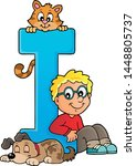 boy and pets with letter i  ...   Shutterstock .eps vector #1448805737