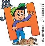 boy and pets with letter h  ...   Shutterstock .eps vector #1448806571