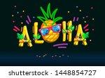 aloha inscription pineapple... | Shutterstock .eps vector #1448854727