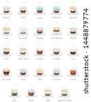 set of 24 coffee types and... | Shutterstock .eps vector #1448879774