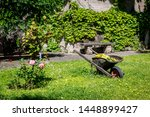 Wheelbarrow in a garden, Carouge district, Geneva, Switzerland