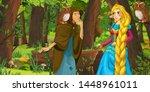 cartoon scene with happy young... | Shutterstock . vector #1448961011