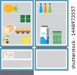 fridge open full of food    Shutterstock .eps vector #1448973557