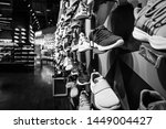 Sneakers on the shelves in Central department store at Bangna-Trad road Bangna Bangkok Thailand, April 12, 2019
