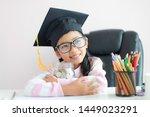 little asian girl wearing... | Shutterstock . vector #1449023291