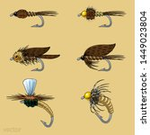 fly fishing fly tying set  dry  ... | Shutterstock .eps vector #1449023804