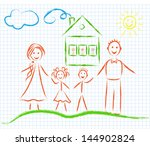 family on the notebook sheet ... | Shutterstock .eps vector #144902824