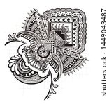 zentangle art made by ink and... | Shutterstock . vector #1449043487