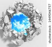 racked broken hole in white... | Shutterstock . vector #1449046757
