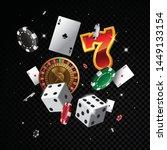 casino elements vector falling... | Shutterstock .eps vector #1449133154