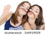 portrait of a two teen girls...   Shutterstock . vector #144919039