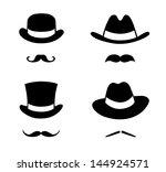 retro set hat and mustache.... | Shutterstock .eps vector #144924571