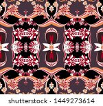 seamless flowers and patchwork... | Shutterstock . vector #1449273614