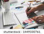 young handsome graphic designer ... | Shutterstock . vector #1449330761