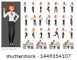 set of business woman character ... | Shutterstock .eps vector #1449354107