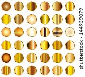 vector set of round gold... | Shutterstock .eps vector #144939079