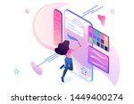 young girl is engaged in... | Shutterstock .eps vector #1449400274