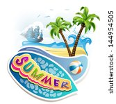 summer beach with palm trees | Shutterstock . vector #144954505