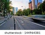 city street at the evening in Frankfurt, Germany - stock photo