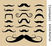 set of black mustaches.... | Shutterstock .eps vector #144964411