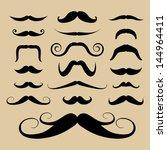 set of black mustaches.... | Shutterstock .eps vector #144964411