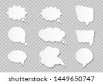 white paper cut speech bubbles... | Shutterstock .eps vector #1449650747