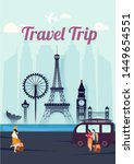 travel trip template or poster... | Shutterstock .eps vector #1449654551