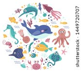 set of sea animals. colorful... | Shutterstock .eps vector #1449720707