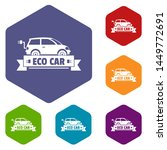 eco car icons colorful...