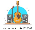 guitar acoustic with microphone ... | Shutterstock .eps vector #1449820367