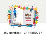 back to school scene with big... | Shutterstock .eps vector #1449850787