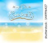 happy summer on the beach... | Shutterstock .eps vector #144996427
