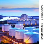 oil storage tank at night | Shutterstock . vector #145008091