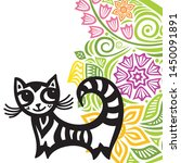 cute cartoon cat. vector... | Shutterstock .eps vector #1450091891
