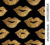 Lips Gold Hand Painted Seamless ...