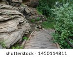 empty wooden path in park... | Shutterstock . vector #1450114811