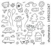 set of hand drawn kid doodles | Shutterstock .eps vector #1450121267
